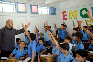 Students in a school in Gaza of the UNRWA at the beginning of the new academic year. *UN Photo-Shareef Sarhan