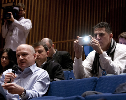 Correspondents are pictured during the press conference held by the Committee to Protect Journalists (CPJ) launching the Committee's annual report. 14 February 2013 Photo courtesy of the UN Archive
