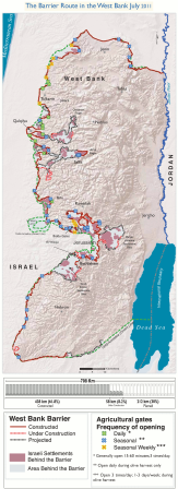 The map of Palestine showing the barrier as of July 2011. A total of 272km were completed while another 58km are still under construction. However, 212km are being planned.
